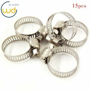 3 4 1 Adjustable Stainless Steel Drive Hose Clamps Fuel Line Worm Clip 15pcs