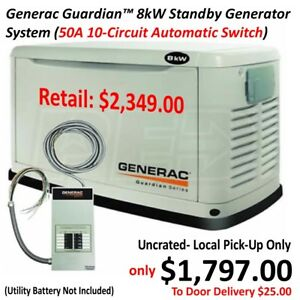 Generac Guardian 8kw Standby Generator System 50a 10 circuit Automatic Switch