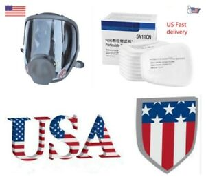 Full Face Gas Mask Painting Spraying Respirator F 6800 Facepiece 10pcs Filter