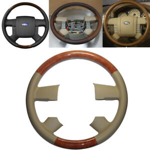 Tan Leather Brown Wood Steering Wheel Cover 2004 2008 Ford F150 Fx4 Lincoln Mark