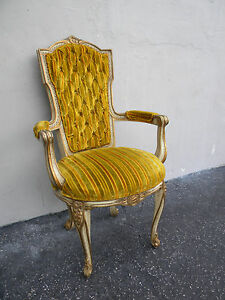 French Carved Tufted Painted Living Room Side Chair 3991