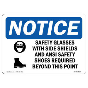 Osha Notice Safety Glasses With Side Shields Sign With Symbol Heavy Duty