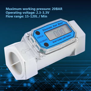 15 120l Turbine 1 5 Digital Flow Meter Gasoline Water Liquid Fuel Gauge Tool