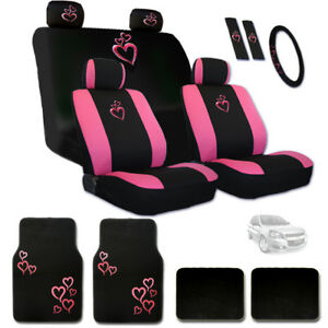 New Pink Heart Car Auto Truck Seat Steering Covers Floor Mats Set For Chevrolet