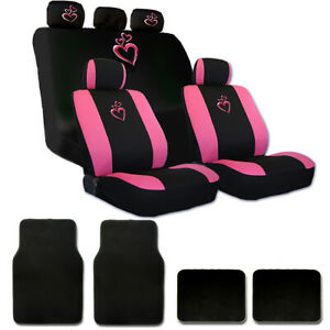 For Nissan New Pink Heart Car Auto Truck Seat Steering Covers Floor Mats Set