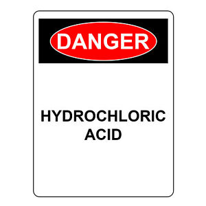 Danger Hydrochloric Acid Sign Safety Sign Aluminum Metal Uv Print Hazard Sign