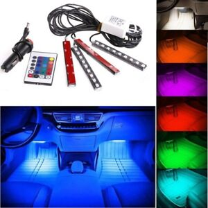 4x Car Auto 9 Led Rgb Indoor Lighting Strip Atmosphere Lamp Remote Control Kit