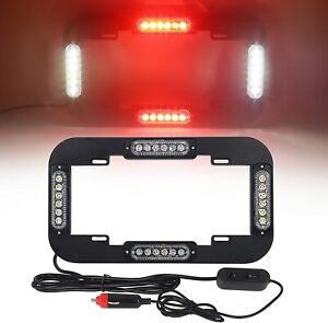 13 5 24 Led Number License Plate Lights Flash Warning Strobe Light Red White