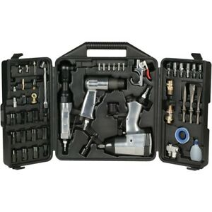 New 50pc Air Tool Kit Set Impact Ratchet Hammer Sockets Chisels Nozzles W Case