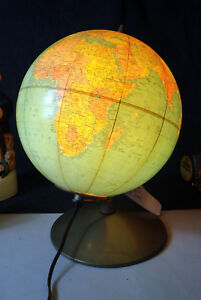 1960 World Globe Lamp Light Up Replogle Africa Post Ww2 Israel Map 10 Map Libra