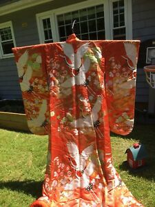 Rare Double Flying Cranes Japanese Wedding Kimono Uchikake Beautiful Stitchwork