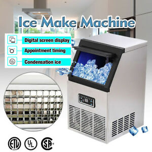 132lb Built in Stainless Steel Commercial Ice Maker Ice Cube Machine Restaurant