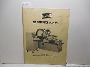Hardinge Ahc Maintenance Manual Ma105