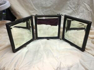 Antique Travel Trifold Hanging Shaving Beveled Mirror Wood Frame