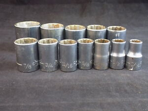 Craftsman V 475 Socket Set Large 12 Piece 1 2 12 Point Sockets Made In Usa