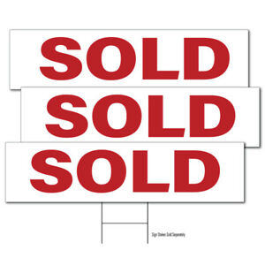 sold Real Estate Sign Riders 12 Pack Double Sided 6 X 24 Free Shipping