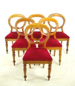 Antique Dining Chairs Balloon Back Beechwood Scotland 1870 B1029 Reduced