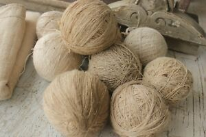 1 Antique Hemp Linen Ball Thread Yarn Hand Spun Vintage Natural