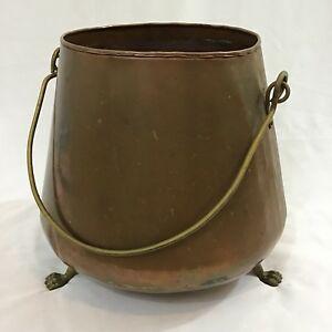 Vintage Large Copper Brass Accents Kettle Pot Cauldron With Handles
