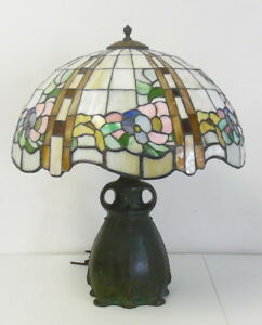 Antique Art Nouveau Pittsburgh Bronze Owl Table Lamp Base W Leaded Glass Shade
