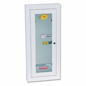 10 Pound Fire Extinguisher Cabinet Semi Recessed Heavy Duty Tempered Glass New