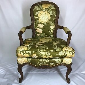 French Fauteuil Louis Xv Armchair Hibriten Wooden Green Accent Chair