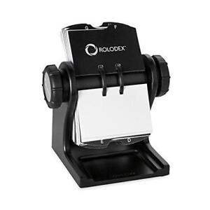 Rolodex Wood Tones Collection Open Rotary Business Card File 400 card Black