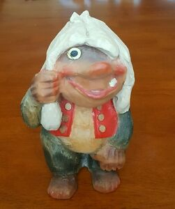 Rare Vintage Henning Norway Lg 7 Troll Hand Carved Wood Beautiful