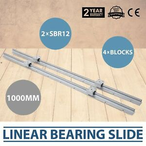 2xsbr12 1000mm Linear Rail Slide Guide Rod 4sbr12uu Block Set Lathes Slide Guide