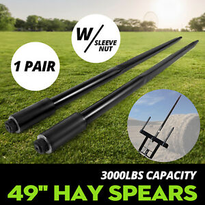 Two 49 3000 Lbs Hay Spears Nut Bale Spike Fork Pair Tine Black Sleeve Included