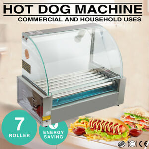 Us 7 Rollers Hot Dog Grill Roller Commercial 18 Hotdog Maker Cooker Heat Machine