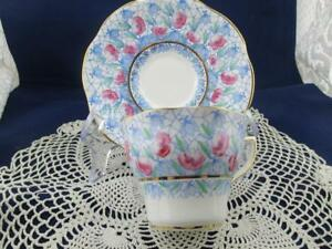 Vintage Rosina Teacup Cup Saucer England Beautiful Blue Pink Flowers