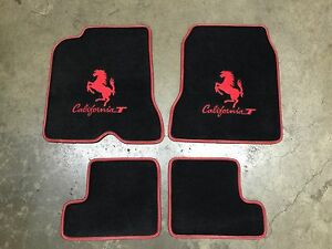 Ferrari California T 4 Pc Custom Car Floor Mats Red Logo Red Edging Quality