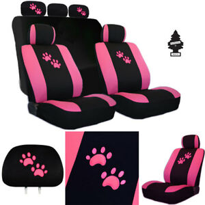 New Embroidery Pink Paws Car Auto Truck Seat Cover Gift Full Set For Jeep