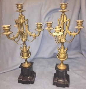 Pair Of Antique Marble Brass Candelabra Candlesticks 20 Mantel As Is