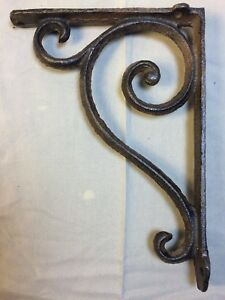 Set Of 2 Rustic Brown Scroll Brace Bracket Vintage Looking Patina Finish