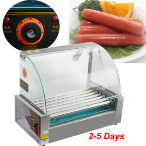 Commercial 18 Hot Dog Roller Grill Cooker Machine Stainless Steel W cover New
