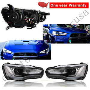 Led Drl Audi A5 Style Headlights Headlamp For 2008 2017 Mitsubishi Lancer Evo