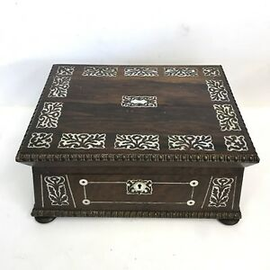 Fine Quality Antique Georgian Sarcophagus Rosewood Mother Of Pearl Sewing Box