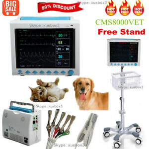 Fedex Portable Vital Signs Vet Icu Ccu Veterinary Patient Monitor Rolling Stand