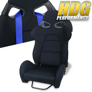 1x Racing Black Clother Bucket Style Safety Seat Universal Track Drag Drift Jdm