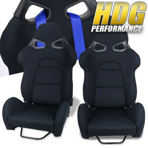 2x Racing Black Clother Bucket Style Safety Seat Universal Track Drag Drift Pair