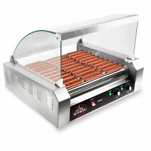 Olde Midway Electric 30 Hot Dog 11 Roller Grill Cooker Machine 1200 watt With