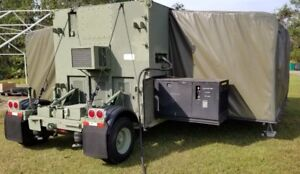 Us Military 2007 20kw Generator Aar Expandable Mobile Shelter Tow Dolly Set