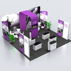 20ft Portable Trade Show Display Pop Up Banners Booth Exhibit Kits All Include