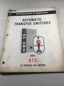 Onan Ats Series 30 400 Amperes Automatic Transfer Switches Operators Manual
