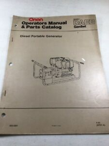 Onan Daeb Series Diesel Portable Generator Operators Manual Parts Catalog