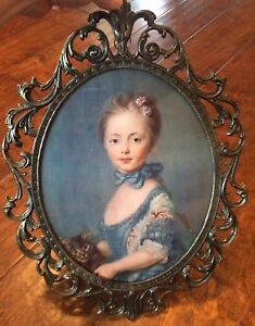 Vintage Oval Metal Picture In Frame Victorian Woman W Cat 16 X 12 Made Italy