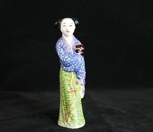 Chinese Antique Porcelain Famille Rose Lady Figurine 6 5 H