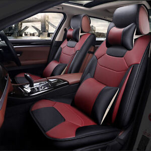 5 seats Auto Car Seat Covers Anti slip Backing Pu Leather Cushions W pillows S
